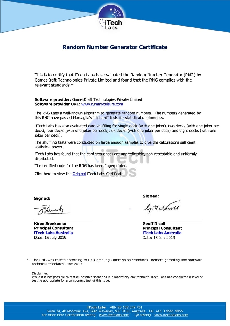 rummyculture rng certificate